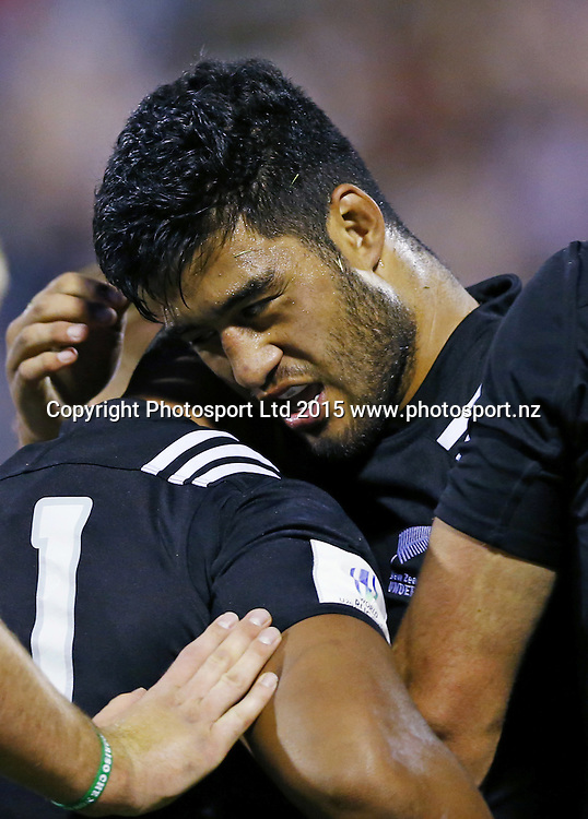 Akira Ioane (NZL) celebrating the try scored<br /> New Zealand v England, World Rugby U20 Championship Final at Stadio Glovanni Zini, Cremona, Italy.<br /> 20 June 2015 <br /> Photo: Matteo Ciambelli / www.photosport.nz