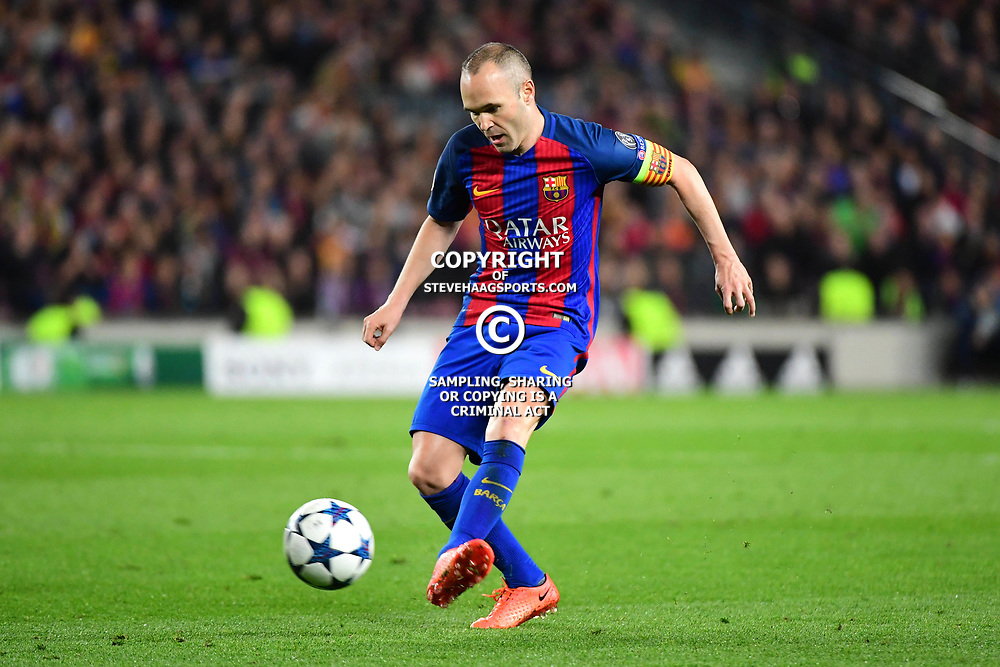 Andres Iniesta of Barcelona during the Uefa Champions League Round of 16 second leg match between FC Barcelona and Paris Saint Germain at Camp Nou on March 8, 2017 in Barcelona, Spain. (Photo by Dave Winter/Icon Sport)