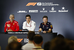 March 23, 2018 - Melbourne, Victoria, Australia - Press conference. ARRIVABENE Maurizio, Managing Director & Team Principal Scuderia Ferrari, WOLFF Toto (aut), Team Principal & CEO Mercedes AMG F1 Petronas GP, HORNER Christian  (gbr), Team Principal of Red Bull Racing, portrait during 2018 Formula 1 championship at Melbourne, Australian Grand Prix, from March 22 To 25 - Photo  Motorsports: FIA Formula One World Championship 2018, Melbourne, Victoria : Motorsports: Formula 1 2018 Rolex  Australian Grand Prix, (Credit Image: © Hoch Zwei via ZUMA Wire)