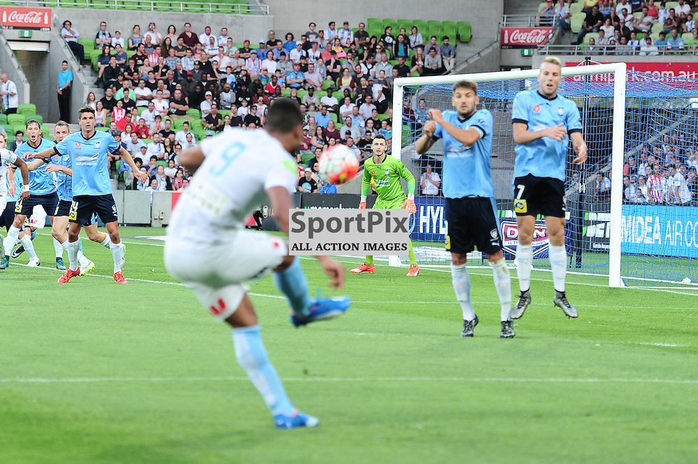Harry Novillo of Melbourne City strike for goal from a set shot in the Hyundai A-League, January 2nd 2016, RD13 match between Melbourne City FC V Sydney FC at Aami Park, Melbourne, Australia in a 2:2 draw. © Mark Avellino | SportPix.org.uk