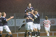 Dundee's Stephen O'Donnell's joy is evident as he is congratulated after scoring Dundee's third - Hamilton Academical v Dundee - IRN BRU Scottish Football League First Division - at New Douglas Park. .- © David Young -.5 Foundry Place - .Monifieth - .Angus - .DD5 4BB - .Tel: 07765 252616 - .email: davidyoungphoto@gmail.com - .http://www.davidyoungphoto.co.uk