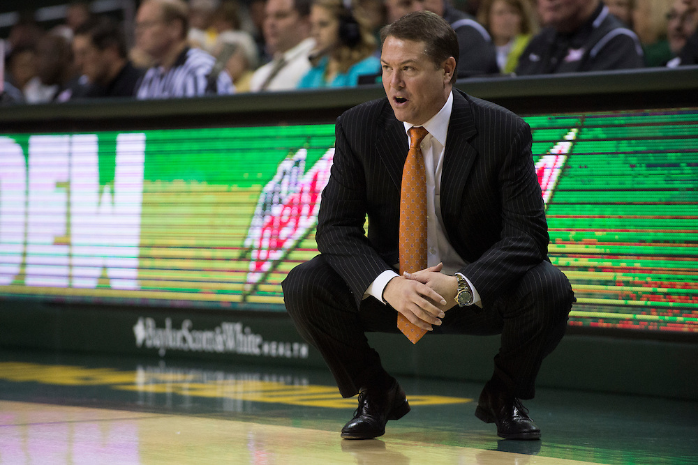 WACO, TX - JANUARY 5: Oklahoma State Cowboys head coach Travis Ford looks on against the Baylor Bears on January 5, 2016 at the Ferrell Center in Waco, Texas.  (Photo by Cooper Neill/Getty Images) *** Local Caption *** Travis Ford