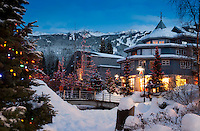 Winter snow blankets the Town Plaza area of Whistler Village in December.