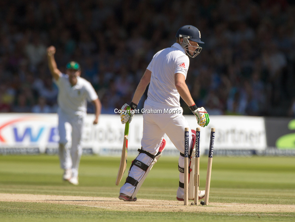 Jonny Bairstow is bowled on 95 by Morne Morkel during the third and final Investec Test Match between England and South Africa at Lord's Cricket Ground, London. Photo: Graham Morris (Tel: +44(0)20 8969 4192 Email: sales@cricketpix.com) 18/08/12