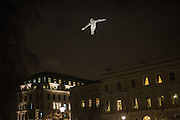 Les Voyageurs by artist Cedric Le Borgne is exhibited in St James' Square during the Lumiere exhibition, London. 11  January 10 2016