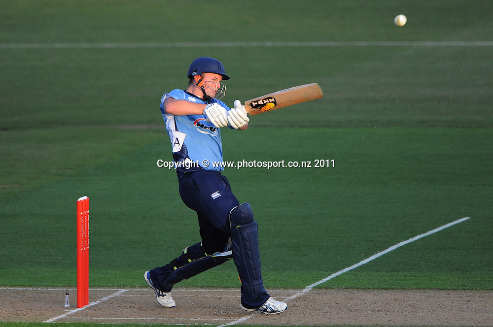 Colin Munro batting for Auckland during the HRV Twenty20 Cricket match between the Auckland Aces and Northern Knights at Colin Maiden Oval in Auckland on Monday 26 December 2011. Photo: Andrew Cornaga/Photosport.co.nz