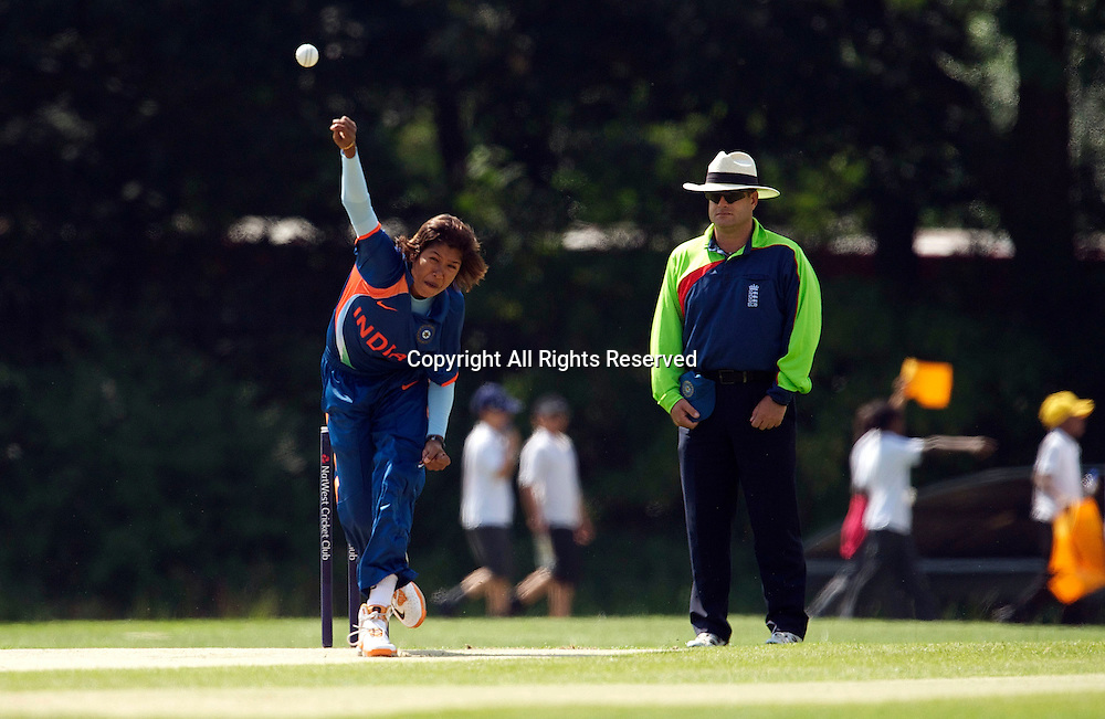5.7.11 Southgate, England. Gouhar Sultana of India in action during the India Women vs White Ferns NatWest Womens Quadrangular Series Women's One-Day Match at The Walker Cricket Ground, Southgate.
