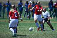 SO Denmark athlete fights for the ball with SO Germany athlete while football women match 7-a-side during fourth day of the Special Olympics World Games Los Angeles 2015 on July 28, 2015 in Los Angeles, USA.<br /> USA, Los Angeles, July 28, 2015<br /> <br /> Picture also available in RAW (NEF) or TIFF format on special request.<br /> <br /> For editorial use only. Any commercial or promotional use requires permission.<br /> <br /> Adam Nurkiewicz declares that he has no rights to the image of people at the photographs of his authorship.<br /> <br /> Mandatory credit:<br /> Photo by © Adam Nurkiewicz / Mediasport