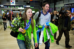 Tina Maze of Slovenia, 2-times gold winner with her coach and boyfriend Andrea Massi during reception at arrival from Sochi Winter Olympic Games 2014 on February 23, 2014 in Airport Zagreb, Croatia. Photo by Vid Ponikvar / Sportida