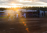 A game between Argentina and the Dominican Republic at the 2017 Men's World Softball Championship under the midnight sun.