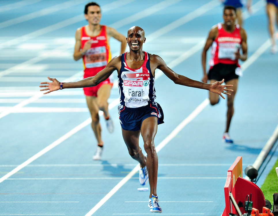 Great Britain's Mo Farah reacts as he wins the men's 5000m final at the 2010 European Athletics Championships at the Olympic Stadium in Barcelona on July 31, 2010.