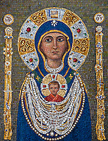 Fabulous stone mosaic of the Virgin Mary and Jesus in Venice, Italy.