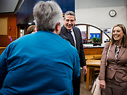 """08 APRIL 2019 - DES MOINES, IOWA: Rep. TIM RYAN introduces himself to a teacher at Callanan Middle School. Ryan, a candidate for the Democratic ticket of the US presidency, visited Callanan Middle School in Des Moines to discuss education issues. Ryan declared his candidacy on the US television show """"The View"""" on April 4. Ryan, 45 years old, represents Ohio's 13th District, which includes Lordstown, where a large General Motors plant recently closed. He is the latest Democrat to announce his candidacy to be the Democratic nominee in the 2020 election. Iowa holds its presidential caucuses on Feb. 3, 2020.     PHOTO BY JACK KURTZ"""