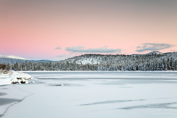 """Donner Lake Sunset 38"" - Photograph taken at sunset of a mostly iced over Donner Lake in Truckee, California."