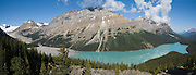 Peyto Lake, Mistaya Mountain, Banff National Park, Alberta, Canada. Banff is part of the Canadian Rocky Mountain Parks World Heritage Site declared by UNESCO in 1984. Panorama stitched from 3 images.