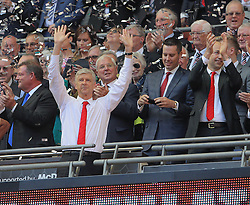 Arsenal Manager, Arsene Wenger celebrates after his side win the Community Shield - Mandatory byline: Paul Terry/JMP - 07966386802 - 02/08/2015 - Football - Wembley Stadium -London,England - Arsenal v Chelsea - FA Community Shield