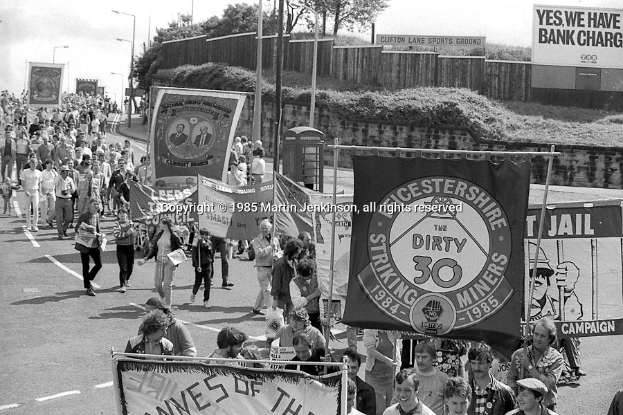 Leicestershire Dirty 30 and Kilnhurst banners, 1985 Yorkshire Miner's Gala. Rotherham.