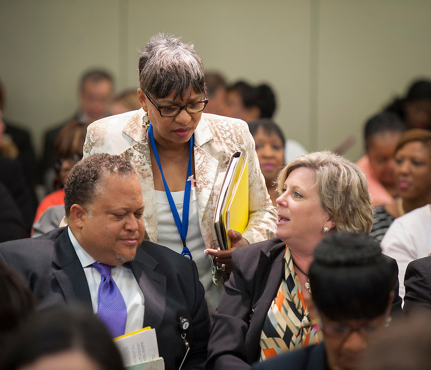 Principals gather in the Board Auditorium for a meeting at the Hattie Mae White Buliding, April 10, 2013.