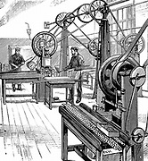 Royal Mint, London. Cutting coin blanks from metal strips.  Blanks we then put  in coin stamping press. Wood engraving, 1897.