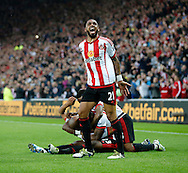 Yann M'Vila (21) of Sunderland celebrates their second goal  during the Barclays Premier League match at the Stadium Of Light, Sunderland<br /> Picture by Simon Moore/Focus Images Ltd 07807 671782<br /> 11/05/2016