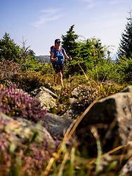 Women hiker walking on rocky path at Hilsenfirst, France