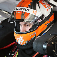 Sprint Cup Series driver Joey Logano (20) prepares for practice at Daytona International Speedway on February 18, 2011 in Daytona Beach, Florida. (AP Photo/Alex Menendez)