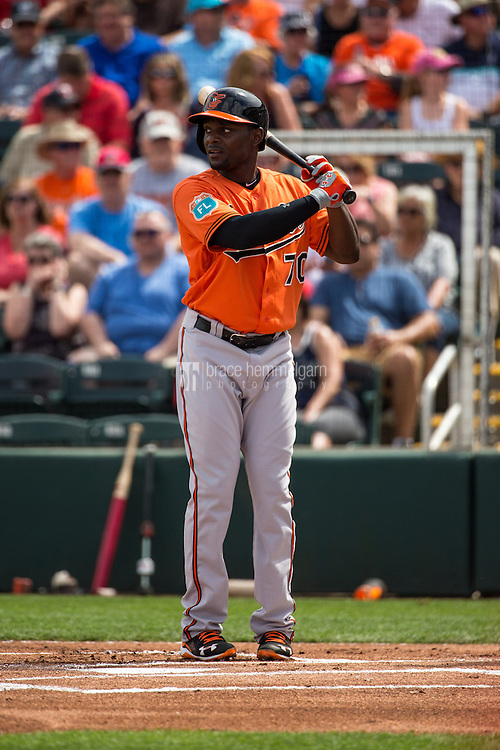 FORT MYERS, FL- MARCH 05: Xavier Avery #70 of the Baltimore Orioles against the Minnesota Twins during a spring training game on March 5, 2016 at Hammond Stadium in Fort Myers, Florida. (Photo by Brace Hemmelgarn) *** Local Caption *** Xavier Avery