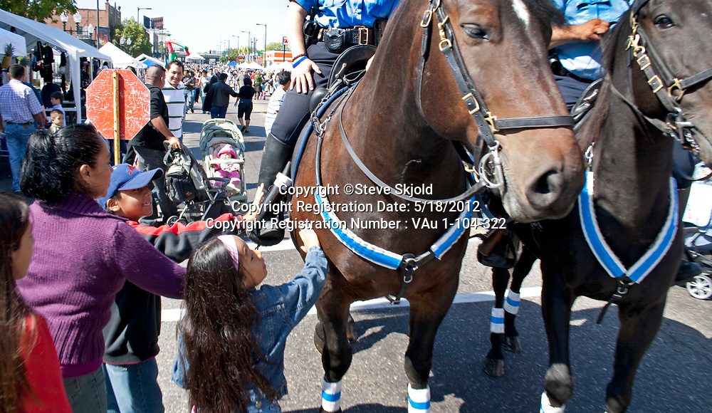 Police patrol horses being petted by Mexican American children. Mexican Independence Day Minneapolis Minnesota MN USA