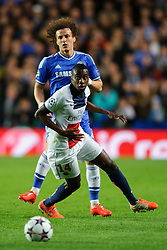 PSG Midfielder Blaise Matuidi (FRA) looks round after challenging Chelsea Defender David Luiz (BRA) - Photo mandatory by-line: Rogan Thomson/JMP - 07966 386802 - 08/04/2014 - SPORT - FOOTBALL - Stamford Bridge, London - Chelsea v Paris Saint-Germain - UEFA Champions League Quarter-Final Second Leg.