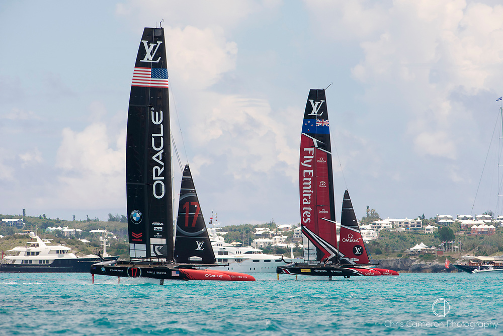 The Great Sound, Bermuda, 26th June 2017. Emirates Team New Zealand and Oracle Team USA in the final race of the 35th America's Cup.