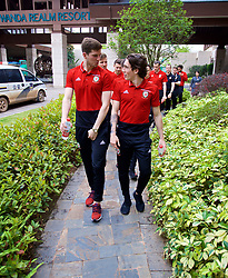 NANNING, CHINA - Monday, March 26, 2018: Wales' Chris Mepham and Harry Wilson during a team walk near the Wanda Realm Resort on day seven of the 2018 Gree China Cup International Football Championship ahead of the final against Uruguay. (Pic by David Rawcliffe/Propaganda)