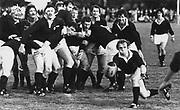 New cap halfback Gordon Hunter clears the ball.<br /> Scotland (39) v King Country (13) in Taumarunui on 27 May 1981.<br /> Copyright photo: Ron Cooke / www.photosport.nz