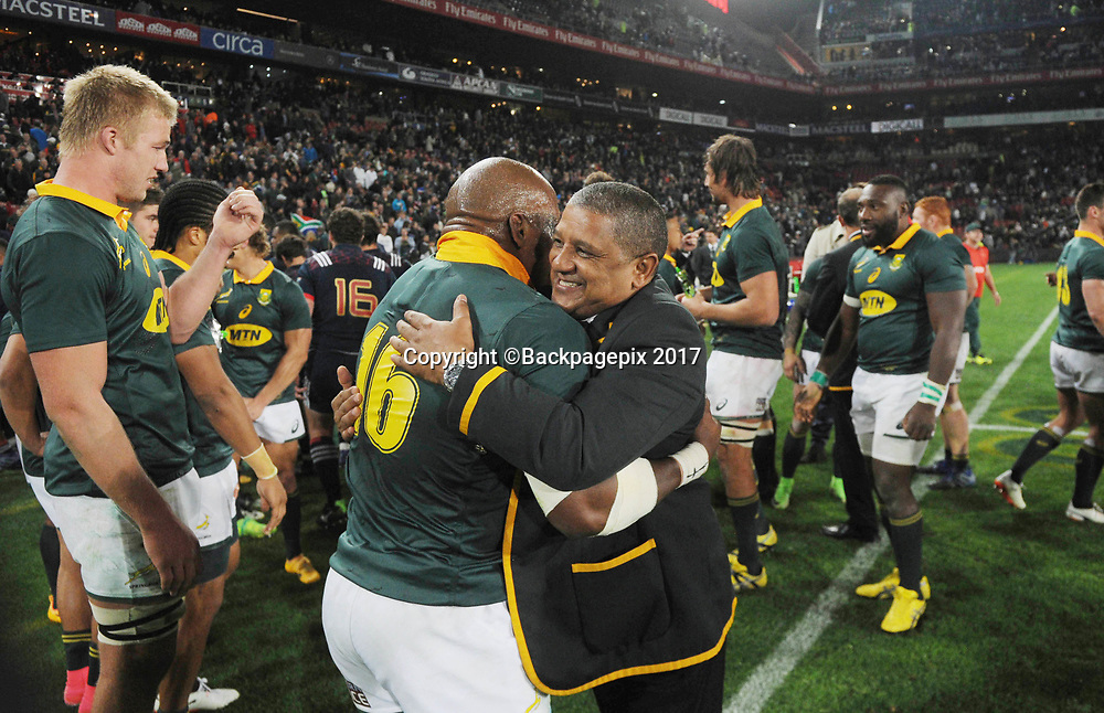 Allister Coetzee coach of South Africa celebrates with Bongi Mbonambi of South Africa  during the 2017 International Incoming Series rugby match between SA and France on 24 June 2017 at Ellis Park Stadium   © Sydney Mahlangu /BackpagePix