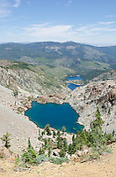 Young American and Upper and Lower Sardine Lakes from the Sierra Buttes Trail in Tahoe National Forest, California.