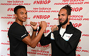 Donovan Brazier (left) and Boris Berian pose during a  press conference prior to the New Balance Indoor Grand Prix in Boston on Friday, Feb. 9, 2018.