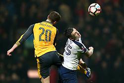 Shkodran Mustafi of Arsenal challenges Jordan Hugill of Preston North End - Mandatory by-line: Matt McNulty/JMP - 07/01/2017 - FOOTBALL - Deepdale - Preston, England - Preston North End v Arsenal - Emirates FA Cup third round