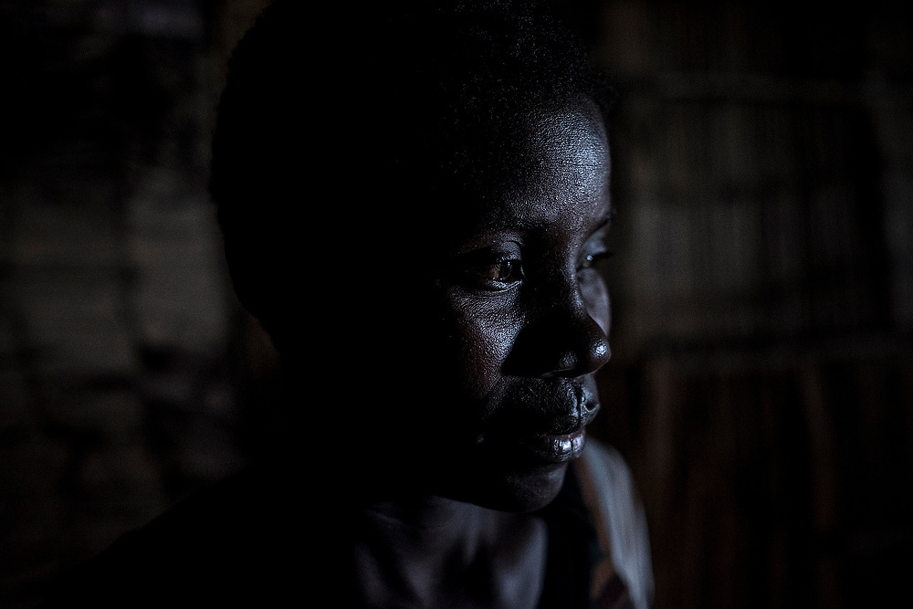 BEIRA, MOZAMBIQUE - JUNE 25, 2016: <br /> Amine Cabana, 22 years old, resident of the Grande Hotel. She lives in the lower part of the building where formerly the servants' residences used to be.