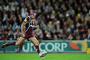 May 25th 2011: Johnathan Thurston of the Maroons kicks the ball during game 1 of the 2011 State of Origin series at Suncorp Stadium in Brisbane, Australia on May 25, 2011. Photo by Matt Roberts/mattrIMAGES.com.au / QRL
