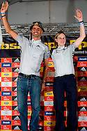 VILLIERSDORP, SOUTH AFRICA - Nico Pfitzermaier and Alison Sydor on the winners podium during stage one of the Absa Cape Epic Mountain Bike Stage Race held between Gordon's Bay and Villiersdorp on the 22 March 2009 in the Western Cape, South Africa..Photo by Nick Muzik  /SPORTZPICS