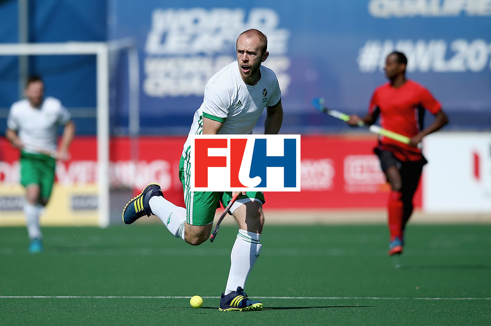 JOHANNESBURG, SOUTH AFRICA - JULY 13: Eugene Magee of Ireland in action during day 3 of the FIH Hockey World League Semi Finals Pool B match between Ireland and Egypt at Wits University on July 13, 2017 in Johannesburg, South Africa. (Photo by Jan Kruger/Getty Images for FIH)