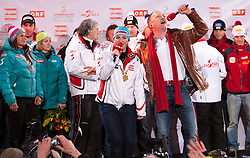 21.03.2011, Planai, Schladming, AUT, Ski Austria Medaillenparty 2011, im Bild Elisabeth Görgl und DJ Rox singen gemeinsam das WM Lied // Elisabeth Goergl and Dj Rox sing together WM Song official Medals party of the Austrian ski team, at Planai Stadium in Schladming Austria odn 21/3/2011. EXPA Pictures © 2011, PhotoCredit: EXPA/ J. Grodernai Stadium in Schladming Austria odn 21/3/2011. EXPA Pictures © 2011, PhotoCredit: EXPA/ J. Groder