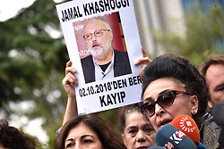 October 9, 2018 - Istanbul, Turkey - Protestors demonstrate at the entrance of Saudi Arabia consulate over the disappearance of Saudi journalist Jamal Khashoggi. The journalist disappeared a week ago after entering Saudi Arabia's consulate to obtain paperwork required for his marriage to his Turkish fiancee. Turkish officials have alleged he was killed in the compound while Saudis officials said he left the building unharmed. (Credit Image: © Depo Photos via ZUMA Wire)
