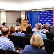 Brooke Gladstone speaks at a live event at UNH in September, 2014