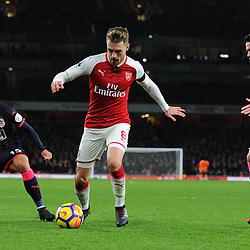 Aaron Ramsey of Arsenal on the ball during Arsenal vs Huddersfield, Premier League, 29.11.17 (c) Harriet Lander | SportPix.org.uk