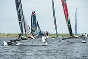 Emirates Team New Zealand leads race seven, day one of the Cardiff Extreme Sailing Series Regatta. 22/8/2014