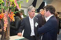 AMSTERDAM - Nationaal Golf Congres & Beurs 2015. NVG. Hans Blaauw met Jean-Paul Jansen. (r) van ANWB golf. FOTO KOEN SUYK