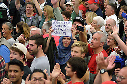 Protesters in the crowd at a rally of  Republican presidential candidate Donald Trump in Mannheim, Lancaster County, PA , on October 1, 2016.