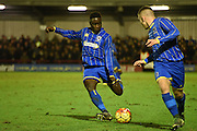 Daniel Ano whips in a freekick during the FA Youth Cup match between U18 AFC Wimbledon and U18 Chelsea at the Cherry Red Records Stadium, Kingston, England on 9 February 2016. Photo by Michael Hulf.