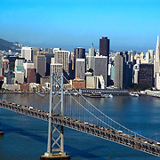 Aerial view of San Francisco Bay Bridge and Downtown