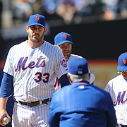 Pitcher Matt Harvey, New York Mets,  is pulled by manager Terry Collins during the New York Mets Vs Miami Marlins MLB regular season baseball game at Citi Field, Queens, New York. USA. 19th April 2015. Photo Tim Clayton